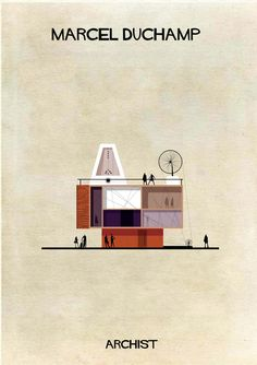"""fabriciomora: """" Famous works of art transformed into buildings in Federico Babina's Archist Series Iconic works from artists including Piet Mondrian, Andy Warhol, Damien Hirst, Marcel Duchamp and more. Piet Mondrian, Josef Albers, Marcel Duchamp Art, Planer Layout, Frank Stella, Architecture Images, Sketch Architecture, Architecture Posters, Architecture Magazines"""