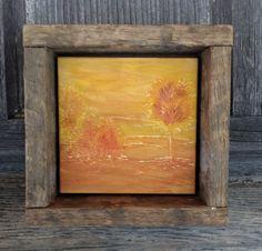 Hand Engraved Wood, Rustic Wall Art, Primitive Home Decor, Autumn Fall, Tree, Cabin, Orange Yellow, Purple, Landscape, Desert, Southwestern
