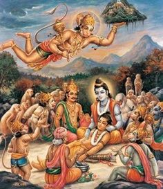 Hanuman delivers a peak of the Himalayan range Hanuman Murti, Hanuman Jayanthi, Hanuman Images, Lord Krishna Images, Shri Ram Photo, Hanuman Ji Wallpapers, Lord Rama Images, Kali Goddess, Indian Goddess