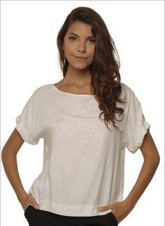 Blusa Feminina Larga em Viscose Branco Barred's 01080040   Sofisticata Loja Online