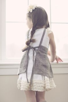 Titania - Grey twill apron pinafore with vintage crochet and lace detailing, from The Measure on Etsy Kids Outfits, Cute Outfits, Linen Apron, Apron Diy, Kids Apron, Creation Couture, Kid Styles, My Little Girl, Sewing For Kids