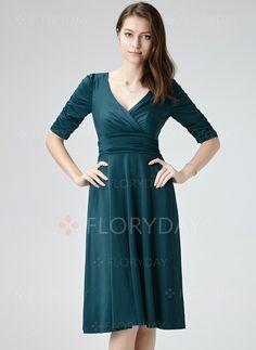 Vestidos de - $44.62 - Poliéster Reto Manga até a metade do braço Altura do Joelho Elegante Vestidos de (1955109521)