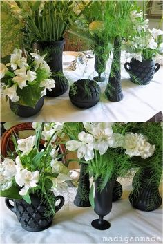 Spray Painted Glass vases...Black & White Floral Centerpieces {Bridal Shower Idea} ~ Madigan Made { simple DIY ideas }