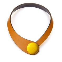 Natural leather necklace statement necklace abstract by Ceraselle
