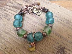 Recycled Ghana glass bohemian bracelet