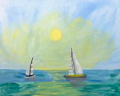 """Social Artworking Canvas Painting Design -  Day at Sea  CANVAS SIZE:  16"""" x 20""""  TIME TO PAINT:  approximately 2 hours 30 minutes"""