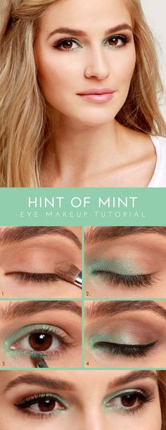 Easy 10 Minute Makeup Ideas for Work - Hint of Mint Eye Shadow Tutorial - Simple And DIY Beauty Ideas And Make Up For Everyday Work Events To Get You Ready Quickly And Easily. Ideas For Different Faces, Eyebrows, Eyeliner, Eyeshadow, and Different Skin Colors - http://thegoddess.com/easy-makeup-ideas-for-work