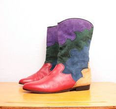 80s Patchwork Pirate Boots in Red Leather / Purple Green Blue & Yellow Suede - Size 10 $68