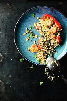Papryka faszerowana komosą ryżową i krewetkami