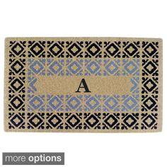 Handmade Monogrammed Decorative Crispin Blue Coir Door Mat (1'10 x 3'), $45 Overstock