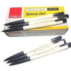 x24 Dong-A Retractable  Speedy-Ball 0.5 mm Ball point Pen - Black 24 Pcs #DongA
