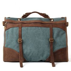 Gray Superior Genuine Cow Leather canvas bag /   leather Briefcase / leather Messenger bag   /leather Laptop bag / Women's leather   satchel (2093) from Handmade Leather Canvas Bags