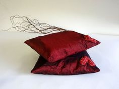 Pillow covers   decorative pillows  red burgundy by lalunadianna