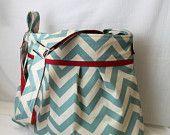 Stella Chevron Diaper Bag in Blue Chevron and Red Elastic Pockets Adjustable Comfort Strap Attach to Stroller