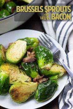 These Brussels sprouts with bacon are pan-fried with a little garlic for a fabulous low carb side dish that's full of flavor and only takes about 20 minutes to make.  #Weeknightdinner #bunsinmyoven