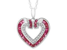 Radiant love is the theme of this glamorous necklace. This incredible heart pendant features sparkling created rubies and dazzling created white sapphires delicately set in sleek sterling silver.Piece measures 8/10 by 9/10 inches.<BR>Comes with a sterling silver 18-inch box chain.