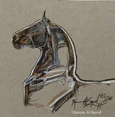 Easy Horse Drawing, Horse Drawings, Animal Drawings, Art Drawings, Animal Sketches, Art Sketches, Horse Illustration, Horse Artwork, Drawing Artist