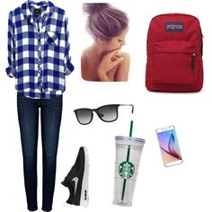 Chill outfit for school by gomezpaulian on Polyvore featuring polyvore fashion style Rails Anine Bing NIKE JanSport Ray-Ban Samsung