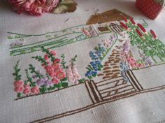 """Beautiful Vintage Embroidered Tray Cloth Thatched Cottage Garden 22""""x15"""""""