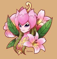 Digimon: Flower Lilimon by Kisetsukaze on DeviantArt Wallpaper Digimon, Digimon Tattoo, Whatsapp Pink, Gatomon, Digimon Adventure 02, Digimon Frontier, Digimon Tamers, Digimon Digital Monsters, Alien Art