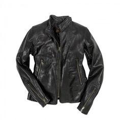 Motorcycle Cafe Racer Jacket in black front