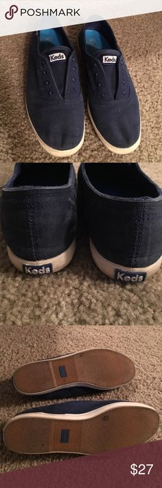Blue slip on Keds Worn twice, excellent condition.  Slip on tennis shoes, no laces. Great blue, goes with everything! Size 7 and true to size. Keds Shoes Sneakers