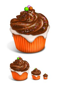 Delicious Cupcake - vanilla with chocolate frosting