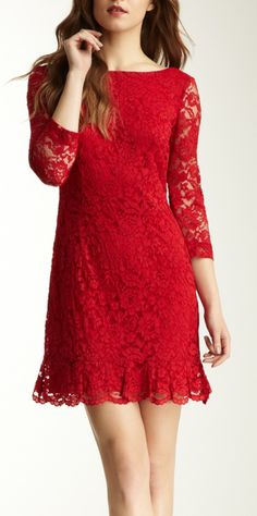 romantic red lace feminine vibrant fashion dress, elegant women's style, lovely pretty bold red evening dress, 3/4 sleeve above the knee