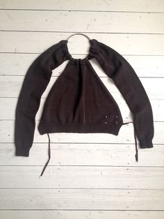 Maison Martin Margiela brown 90s jumper with sleeves attached to choker by miss deanna_6920