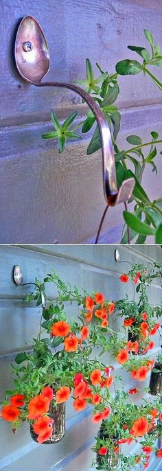 Planter Hangers form old spoons DIY project