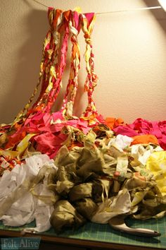 boho chic no sew gypsy rag curtains Mint Curtains, Rag Curtains, Rag Garland, Fabric Garland, Garlands, Beach House Decor, Needle Felting, Wind Chimes, Wool Felt
