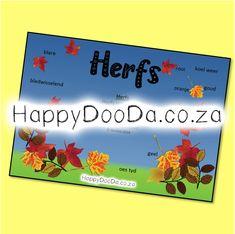 'n Tema muurkaart – Herfs. Hierdie produk is in Afrikaans vir leerders 4-13 jaar. Home Schooling, Afrikaans, Hdd, Homeschool, Words, Afrikaans Language, Homeschooling