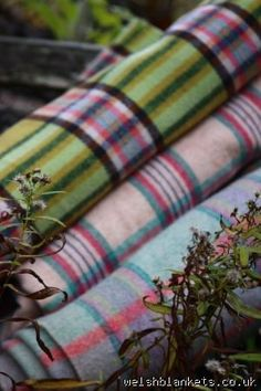 Apple Green Plaid blanket from Pantolwen mill CP184 - plaids & checks. PICNIC Vintage Welsh Blankets