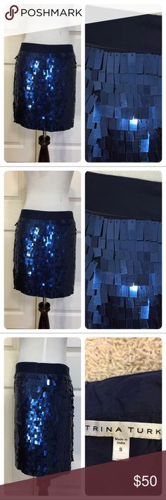 Trina Turk blue metallic skirt Fun blue metallic rectangles shimmer all over this statement making Trina Turk skirt. Fitted ribbon waist band. Back zipper.  New with tags from a secondary market store. Fun statement piece. Trina Turk Skirts