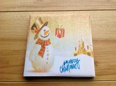 Merry Christmas Snowman Drink Coasters by DanielleCherieDesign