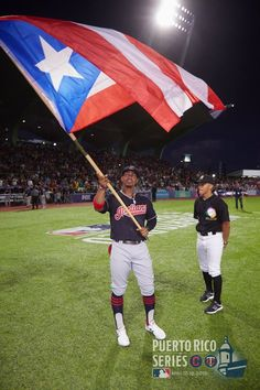 eee1ba6e78a Cleveland Indians Francisco Lindor waves the Puerto Rico flag prior to the  Indians  two-