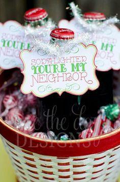 Diy gifts ideas : christmas neighbor gifts:: soda-lighted you're my New Neighbor Gifts, Neighbor Christmas Gifts, Holiday Fun, Christmas Time, Christmas 2017, Xmas, Homemade Christmas, Christmas Presents, Christmas Ideas