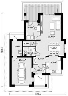 Rzut parteru projektu Kadyks 2 Storey House Design, Small House Design, House Design Pictures, Mediterranean Style Homes, Storey Homes, Home Design Plans, House Plans, Floor Plans, How To Plan