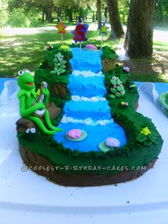 Cute Kermit on a Waterfall Cake: After about a month of going back and forth about what kind of cake she wanted we were scrolling through pinterest and saw a kermit the frog cake a... Coolest Birthday Cake Ideas