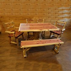 Handcrafted genuine red cedar stump dining table.  Proudly made in America and delivered free to 48 states.  Save more when bundled with red cedar chairs and benches.  #red #cedar #stump #dining #table