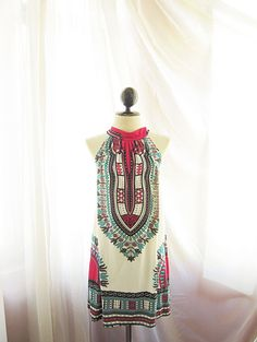 African Aztec Incas Mayan Cirque Frolic Freedom Moroccan Indie Hippie Ikat Swing Halter Dipped Tunic Alice in Wonderland Halter Dress / Top   by RiverOfRomansk on ETSY