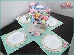 Pastels and Flowered Teacup Theme Birthday Exploding Box Card