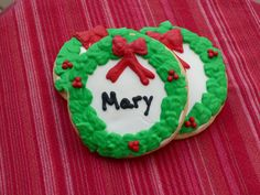 Personalized Holiday Wreath Sugar Cookie Party Favors, Place Cards by KimsCountryCorner on Etsy