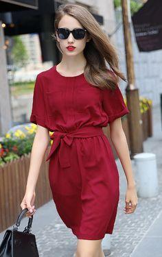 Red Short Sleeve Tie-Waist Casual Dress - abaday.com