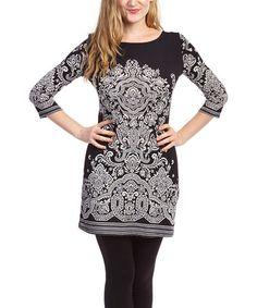 Love this Black & White Arabesque Boatneck Dress on #zulily! #zulilyfinds