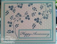 """By Beverly Deel. Stamp the flowering branch from """"Thoughts and Prayers"""" (Stampin' Up) 4 times at different angles, making sure it goes off the panel. Dry emboss the panel in the """"Swiss Dots"""" folder. Layer panel onto colored mat, white mat, then colored card base. Add sentiment. Pretty!"""