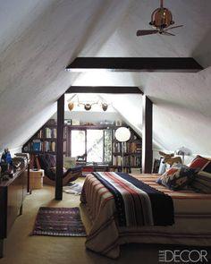 Great Mans Attic Bedroom, has a very Boho vibe, via Elle Decor. House, Interior, Home, Home Bedroom, Remodel, Attic Spaces, Elle Decor, Tudor Cottage, Interior Design