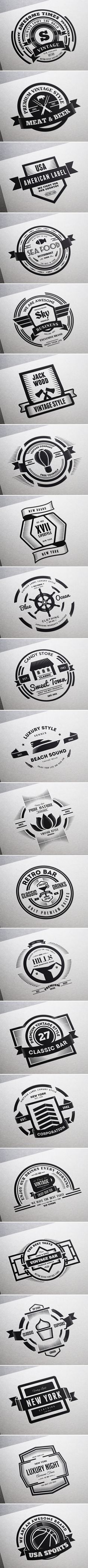 22 Vintage Labels & Badges / Logos / Insignias by Think Big Design, via Behance