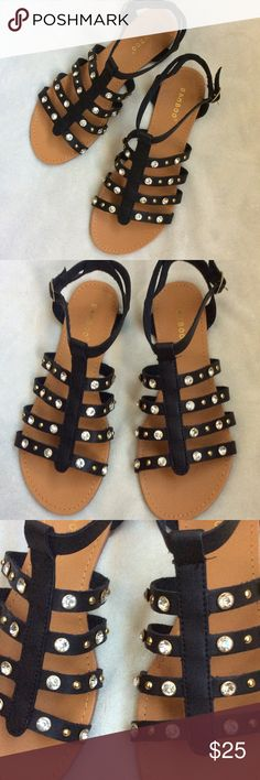 NWT rhinestone embellished gladiator sandals Brand new in box Bamboo Shoes Sandals