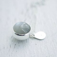 Kool grey colored Moonstone solid silver ball necklace by Minicyn